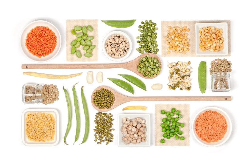legumes on white background